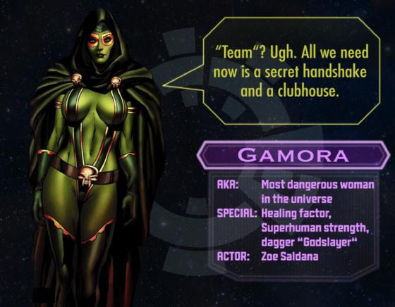 Gamora character sheet
