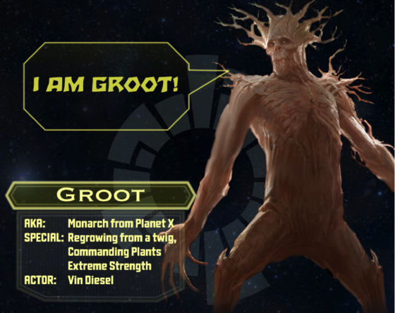 Groot character sheet