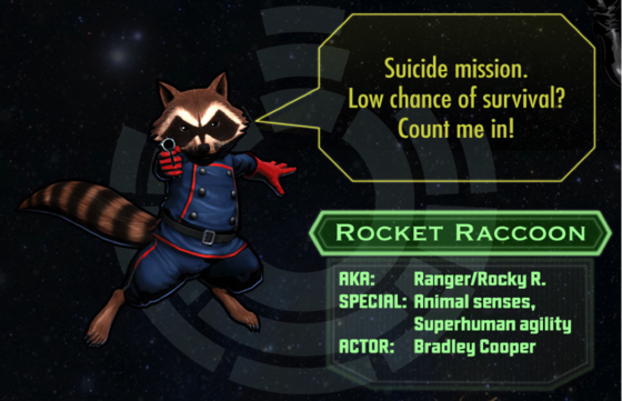 Rocket-Racoon character chart