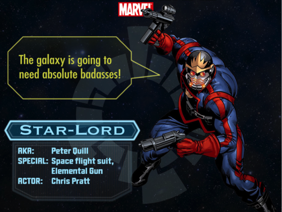 Star-Lord character chart