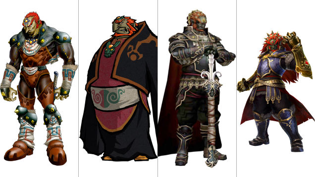 Ganondorf: Ocarina of Time, The Wind Waker, Twilight Princess, Hyrule Warriors