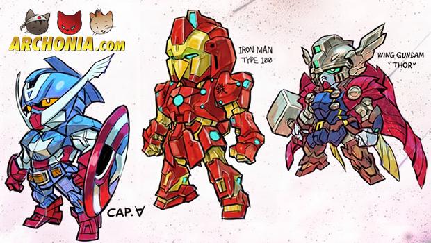 Gundam meets Marvel's Super Heroes