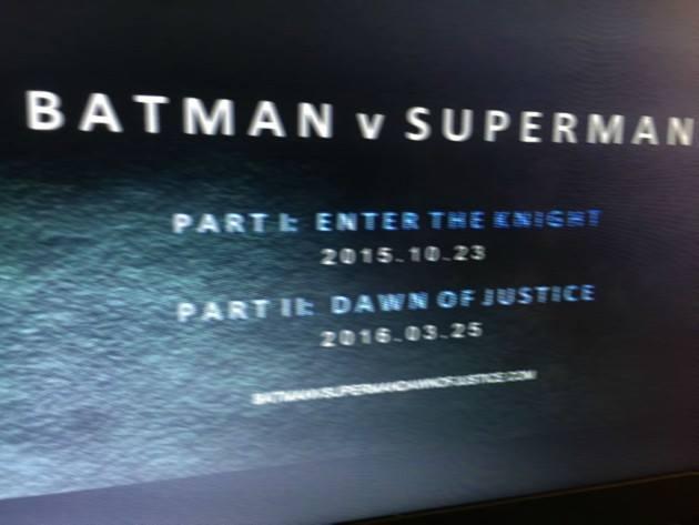 Batman v Superman two parts?