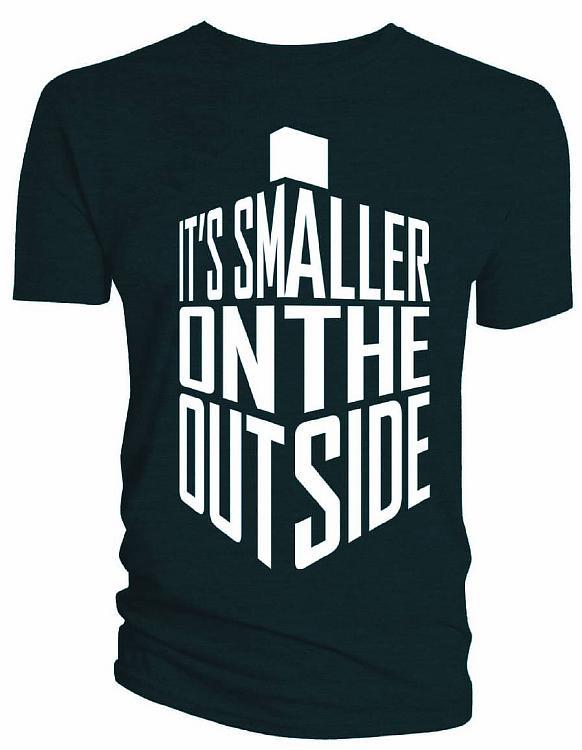TARDIS L algod/ón azul Doctor Who camiseta Its smaller on the outside