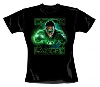 GREEN LANTERN LADIES T-SHIRT LEAPING PUNCH SIZE L