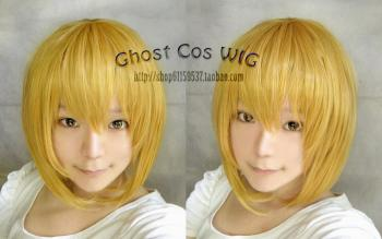 Cosplay Wig short style - Gold Blonde long sideburns + fringe