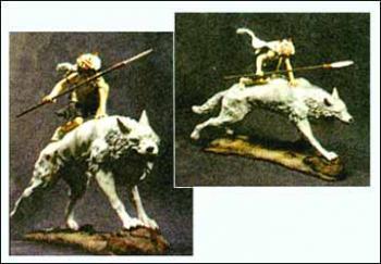 Princess Mononoke San on wolf god plastic statue
