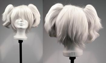 Cosplay Wig with clip on pony tails - White Silver