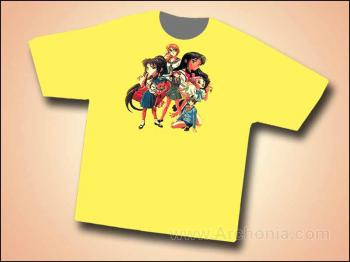 Anime pin-up beauties yellow T-shirt XXL
