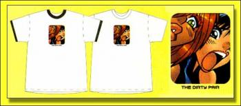 Dirty Pair Kei and Yuri Ringer white and black adult T-shirt M