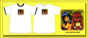 Dirty Pair Kei and Yuri with flower white adult T-shirt XL