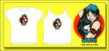 Dirty Pair Yuri with with logo white adult T-shirt XL