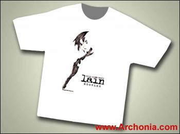 Serial Experiments Lain black and white T-shirt XL