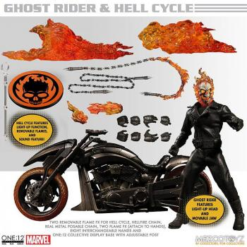 Ghost Rider Action Figure & Vehicle With Sound & Light Up - Ghost Rider & Hell Cycle 1/12